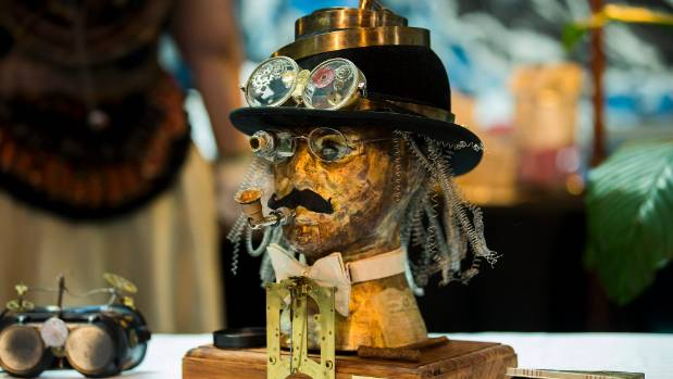 A sculpture by Therese Quinlivan on show at the Steampunk Experience in the Palmerston North City Library.