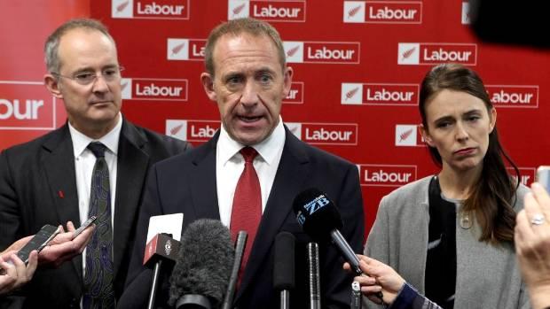 Labour leader Andrew Little, centre, deputy leader Jacinda Ardern, right, and Te Atatu MP Phil Twyford, left, speak ...