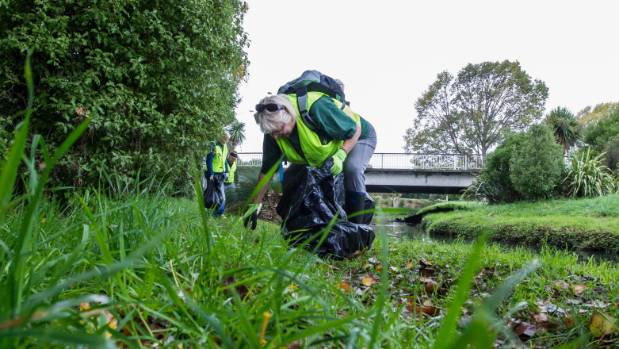 The volunteers collected 705 bags of rubbish from the sides of waterways around the city.
