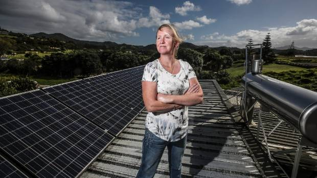 Like many Great Barrier Island residents, Orla Cumisky runs her household on solar power.