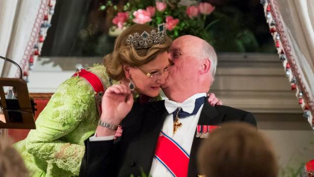 Queen Sonja and King Harlod at their joint 80th birthday party.