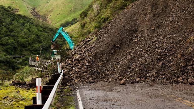 This slip blocked SH3 through the Manawatu Gorge in April.