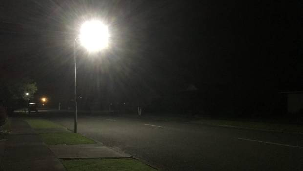Pools of light from the new LED streetlights captured by Palmerston North resident Jane Mullaney.
