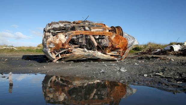 A burnt out car found on Oreti Beach, Invercargill, this week