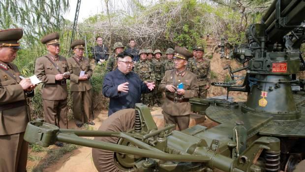 North Korean leader Kim Jong Un inspects the defence detachment on Jangjae Islet.
