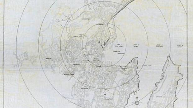 A 1950s army map showing the impact of atomic bombing of Wellington city, which will be on display.