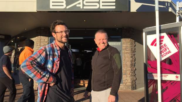 Base fashion store retailer Chris Walsh, left, with Wanaka Community Board member Ed Taylor.