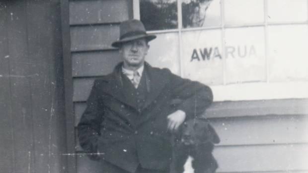 John Gilbert Mackie at the Awarua Junction Station in c.1940