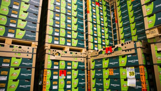 Boxes of green kiwifruit are stored in Whitehall's refrigerated warehouse next to the packhouse.