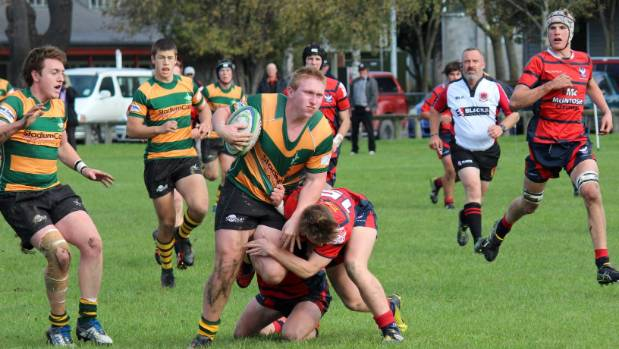 Rangiora High School's Fletcher Newell taking some stopping against Mid Canterbury Combined.