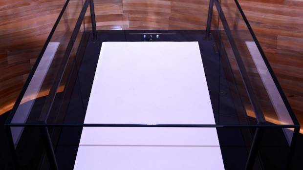 The high-tech, high-security case for the Waitangi Sheet in the new He Tohu exhibition. The exhibition cases contain ...