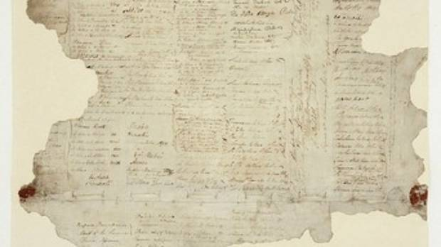 The exhibition features the Treaty of Waitangi. The nine pieces, including this large sheet, are housed in three cases.
