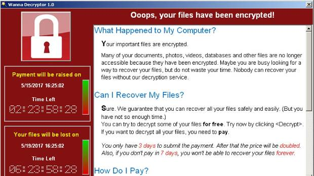A screenshot shows a WannaCry ransomware demand.