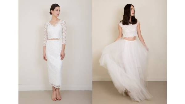 NATALIE CHAN: A top trend in bridalwear right now is the crop top and skirt combo, and we think either of these looks ...