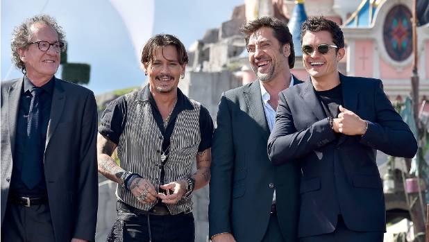 Geoffrey Rush, Johnny Depp, Javier Bardem and Orlando Bloom from Pirates of the Carribean.