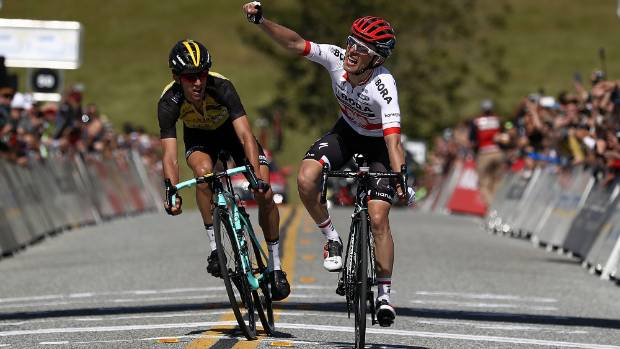 George Bennett is outsprinted by Rafal Majka on the second stage of the Tour of California.