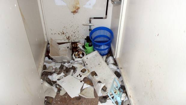 Toliet blocks, urinals and basins were smashed by vandals using rocks.