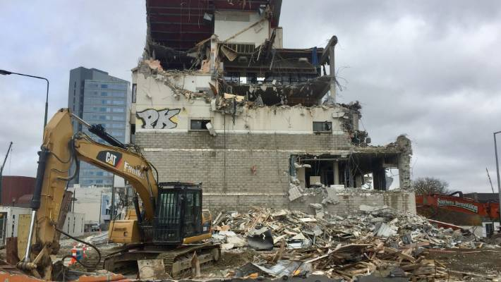 Demolition to clear way for new riverside redevelopment in