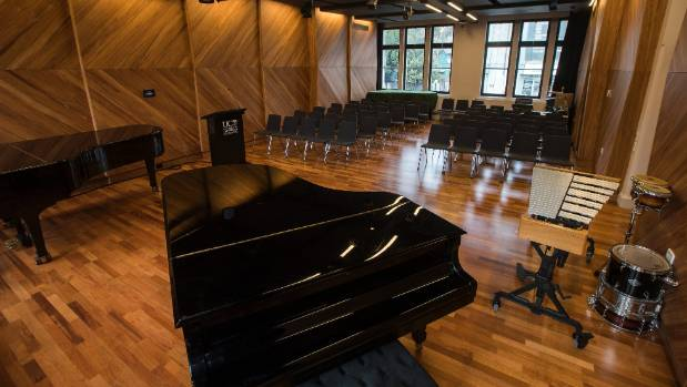 The recital room of the new classics and music building can accommodate 70 people.