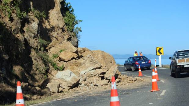 Traffic was disrupted for weeks in April and May as contractors work to clear large boulders blocking one lane just ...