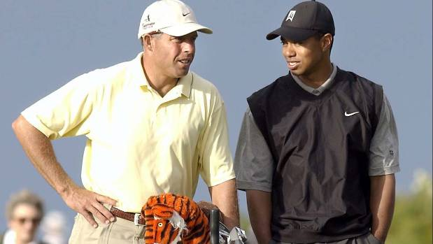 Tiger Woods talks to his caddy Steve Williams during his visit to Paraparaumu Beach Golf Club.