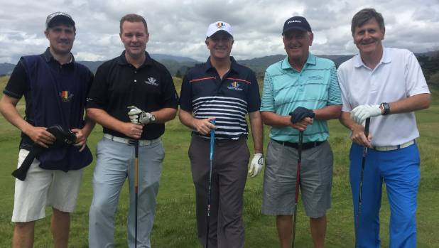 National Party's chief of staff Wayne Eagleson, right, with  John Key, centre, play a round of golf in December last year.
