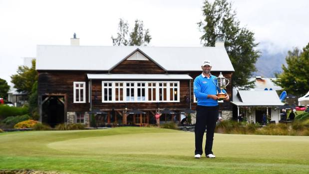 Michael Hendry with the trophy after this year's New Zealand Golf Open in Arrowtown.
