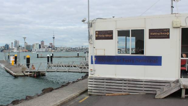The portable building which serves as the passenger waiting area at Bayswater ferry terminal, on Auckland's North Shore.