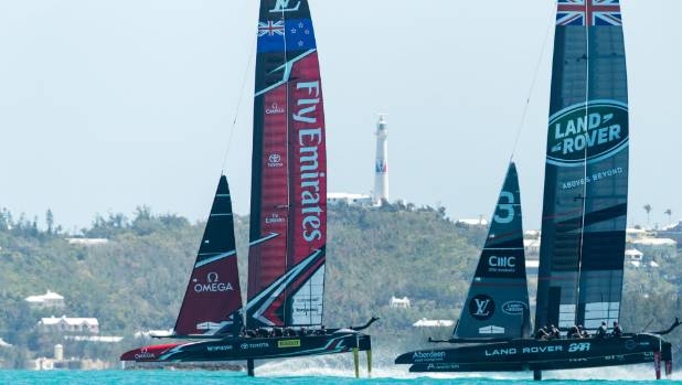 Team NZ were in front when BAR rear-ended them in America's Cup practice racing in Bermuda.
