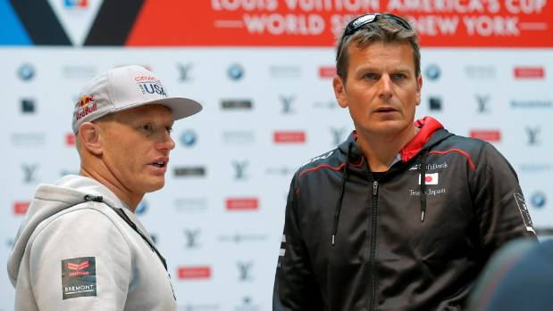 Jimmy Spithill and Dean Barker chat during the New York stop of the world series last year.