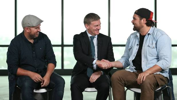 Greg Buckley  and Will Fleming talk with Prime Minister Bill English about fatherhood.