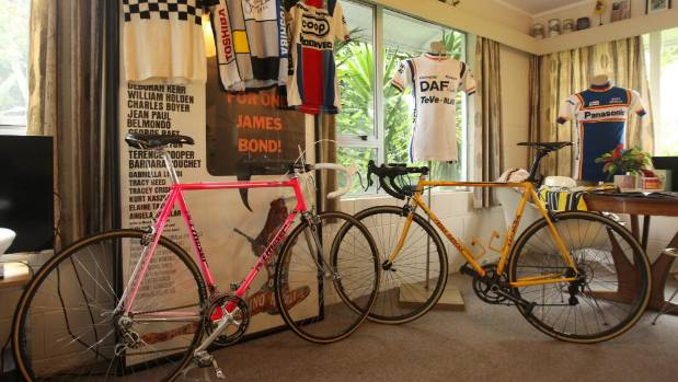 Shayne Goodwin's home is filled with vintage cycling memorabilia, including bikes, apparel, and books.