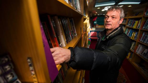 "Rob Bradshaw in his ""office"": Palmerston North's mobile library."