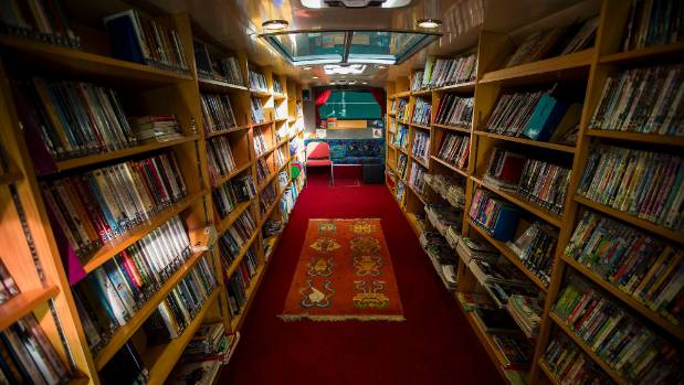 Inside the 11.5m library bus.