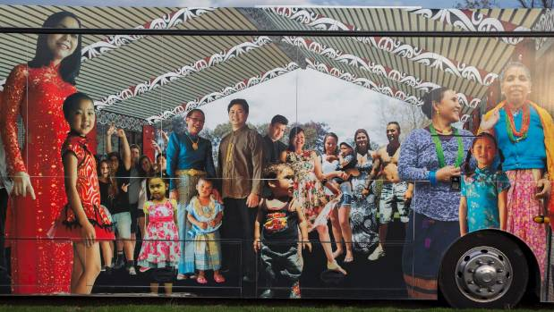 "Emanuel Yiannoutsos' ""people of Palmerston North"" artwork on the other side of the bus."