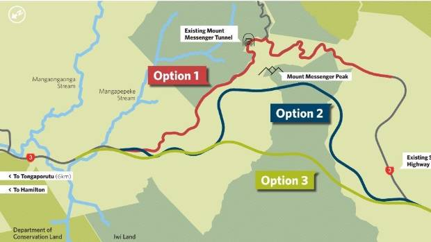 Three options for Awakino and Mt Messenger proposed by the NZTA.
