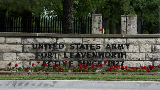 The front gate of US Army base Fort Leavenworth where Chelsea Manning was released,