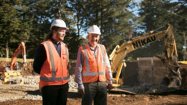Andrew Glenton, graduate engineer at Watercare and Cornwall Park's director Michael Ayrton survey the site where the ...