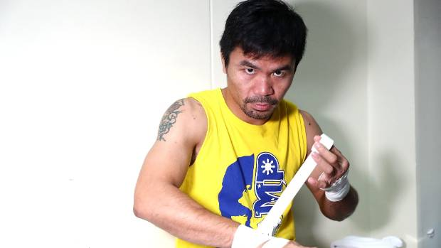 Manny Pacquiao prepares to train at the Elorde boxing Gym in Manila.