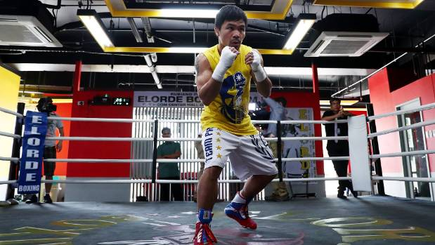 Manny Pacquiao trains at the Elorde boxing Gym in Manila.