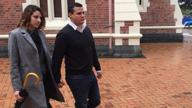 Gonzalo Pavon and his partner outside the High Court in Auckland on Thursday.