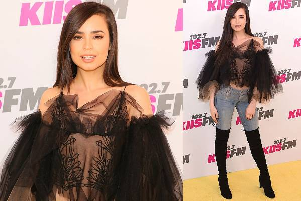 THE BAD: Sofia Carson's dip-dyed shower loofah top is by Yanina Couture - and it basically looks like a revealing mesh ...