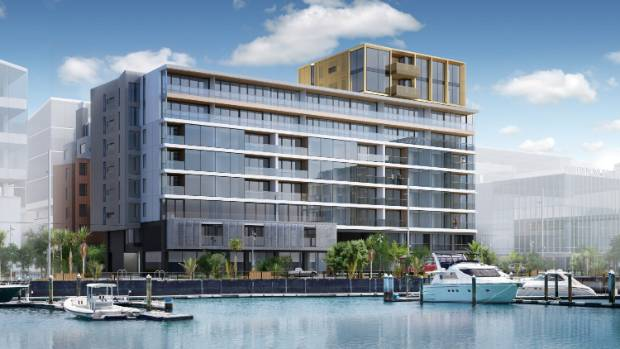 An artist's impression of 132 Halsey St, an apartment building in the Wynyard Quarter.