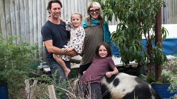 Pascal and Bec Bouffandeau live the good life, with Calix, 9, and Jola, 6, on their 530sqm paradise in South Brighton.