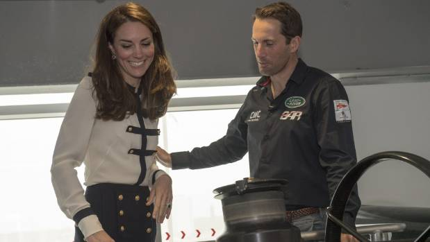 Catherine, Duchess of Cambridge, patron of the 1851 Trust, talks with Sir Ben Ainslie as she visits the Land Rover BAR team.
