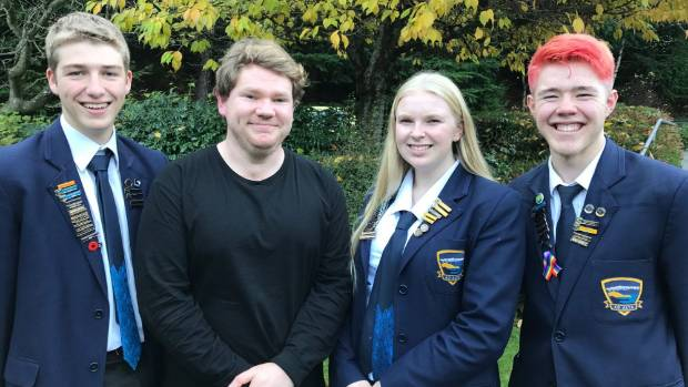 Harley Hamilton, of World Vision (second from left) with Wakatipu High School student team leaders Hugh Taylor, Beatrice ...