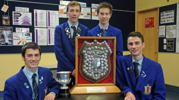 Ste Bernard's College drama team around the O'Shea Shield. From left, Marcus Manning,  Johannes Duthie-Jung, Jayden ...