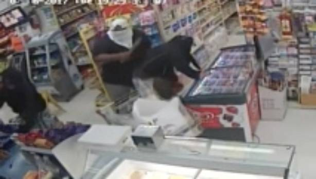 CCTV footage of an aggravated robbery at the Kingsford Superette in Mangere, south Auckland.