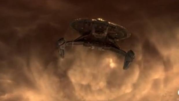 The star ship Discovery in action.