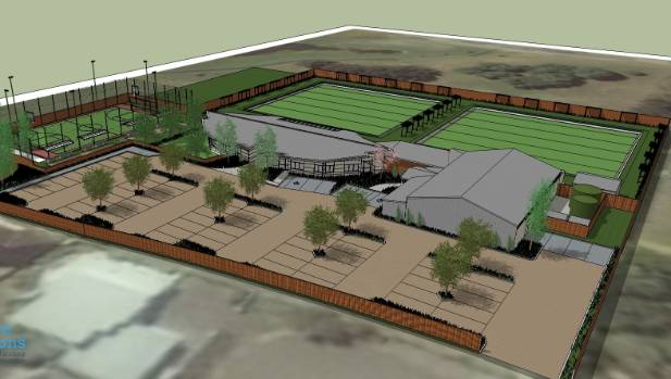 A concept design for the new $4.3 million Pukeko Centre, a community-led project for various Parklands sports clubs and ...